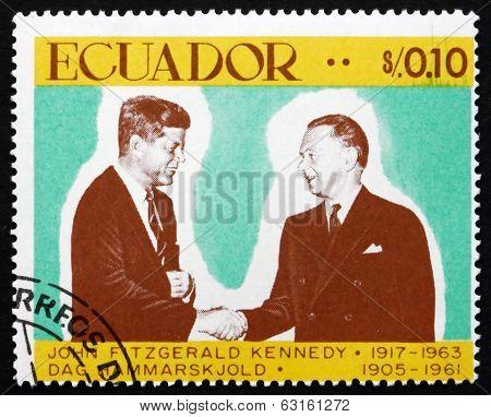 Postage Stamp Ecuador 1967 John F. Kennedy, President