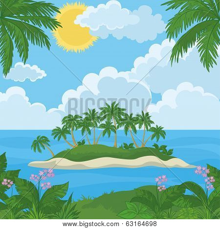 Tropical island with palms and flowers