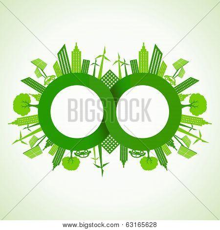 Eco cityscape around infinity symbol