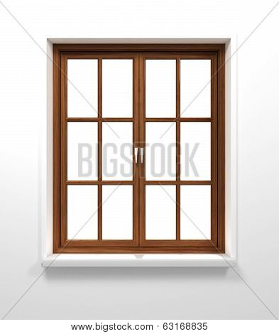 dark wooden closed window in white wall poster
