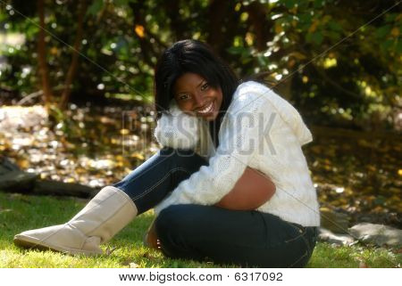 African-american Woman with football