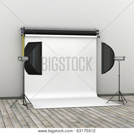 Empty photo studio interior with white background and lighting equipment. 3D render.