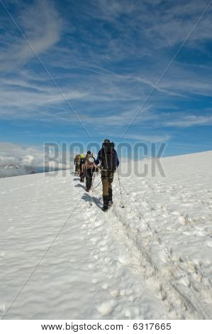 Descending from the summit