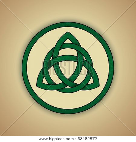 Celtic Knot Symbol of Trinity. Vector illustration of green celtic knot with slight grunge texture