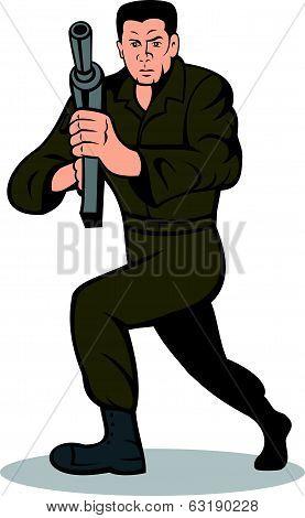 Soldier Aiming Sub-machine Gun Cartoon