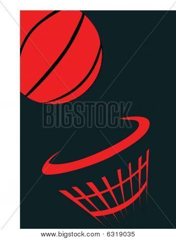 Basket Ball And Net On Black