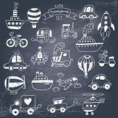 Big doodled transportation icons collection in black-and-white. Travel set with retro cars, air-balloons, ships, bike, helicopter and train. Graphic vintage set on chalkboard background.  poster