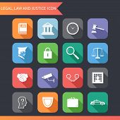 Flat Law Legal Justice Icons and symbols Vector Illustration poster
