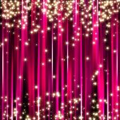Sparkle glitter stars on pink stripe background poster