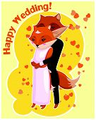 Cartoon drawn postcard for Wedding with two cute hugging foxes poster