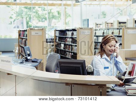 Librarian talking on phone