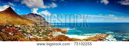 Cape Town city panoramic image, Africa, coastal town near high mountains, beautiful aerial view, wonderful landscape, travel and tourism concept