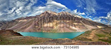 Panorama of mountain lake Chandra Tal in Himalayas. Himachal Pradesh, India poster