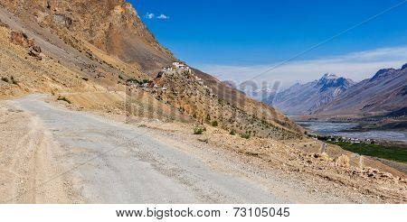 Panorama of road to Kee (Ki, Key) Monastery. Spiti Valley,  Himachal Pradesh, India
