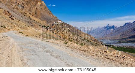 Panorama of road to Kee (Ki, Key) Monastery. Spiti Valley,  Himachal Pradesh, India poster