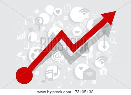 Business growing graph with application. Vector illustration.