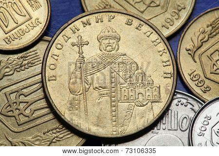 Coins of Ukraine. Saint Vladimir the Great depicted in an Ukrainian one hryvnia coin. The Grand prince of Kiev holds a scale model of the Church of the Tithes.