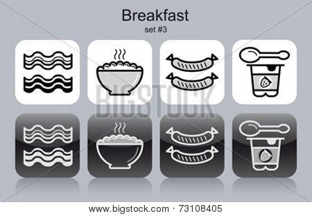 Breakfast menu food and drink icons. Set of editable vector monochrome illustrations.