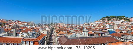 Panorama of the Baixa District of Lisbon with a view over the Bairro Alto, the Augusta Street, the Alfama and the Sao Jorge Castle, Lisbon, Portugal