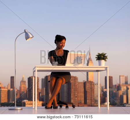 Modern beautiful African American Business woman in the city. New York Business series.