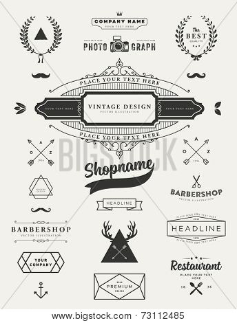 Set of Retro Vintage Insignias and Logotypes. Business Signs, Logos, Identity Elements, Labels, Badges, Frames, Borders and Floral Design Elements. Instagram Art Style