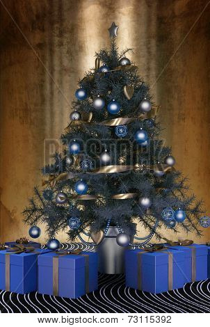 3D Rendering of Beautiful blue themed Christmas tree decorated with blue baubles and ornaments and a silver ribbon garland with blue giftwrapped presents below to celebrate the festive season