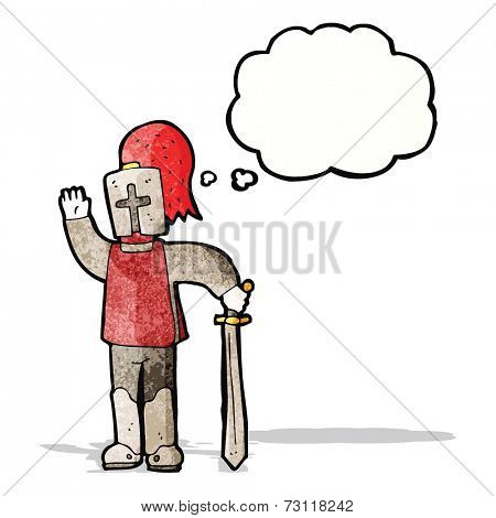 cartoon waving knight