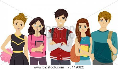Illustration Featuring Students Representing Different College Cliques poster