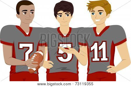 Illustration Featuring a Group of Male Teens Wearing Football Uniform