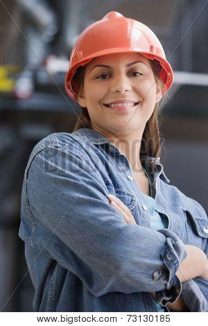 Hispanic female construction worker