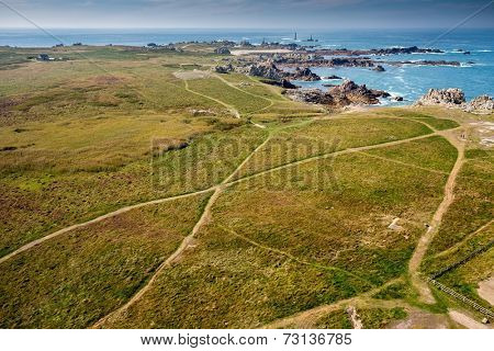 Aerial view of the Pern point in the Ushant island in Brittany, France