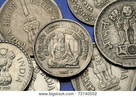 Coins of India. Tamil poet and philosopher Saint Thiruvalluvar depicted in the Indian five rupees coin from 1995.