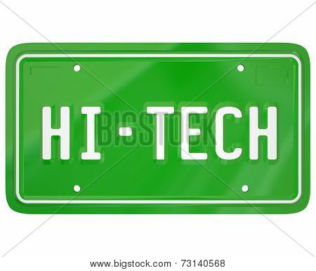 Hi-Tech words on a green car or auto vanity license plate to illustrate modern digital technology or computerization in a new vehicle