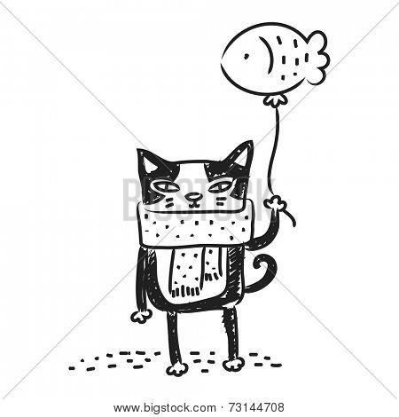 Cat drawing, doodle. Funny cartoon kitten vector line art.