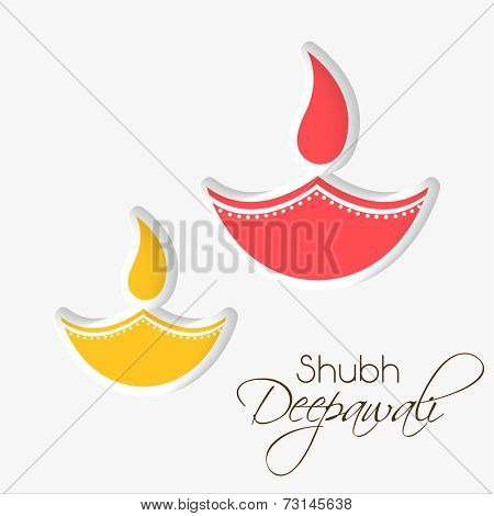 Stylish illuminated oil lit lamp with beautiful decoration and stylish text of shubh deepawali on white background.