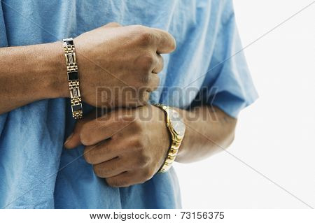 Close up of African man wearing jewelry