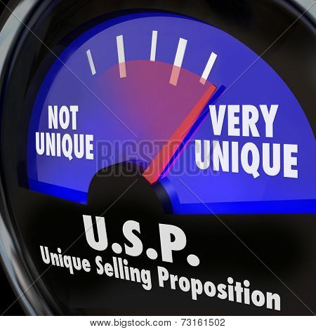 USP Unique Selling Proposition words on a guage or measurement tool measuring your level of special or different skills and abilities