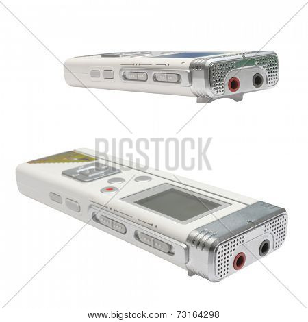 The image of dictaphone under the white background