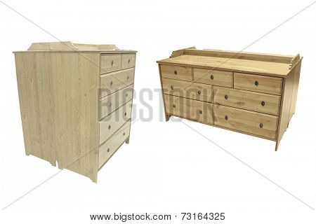The image of chest of drawers under the white background