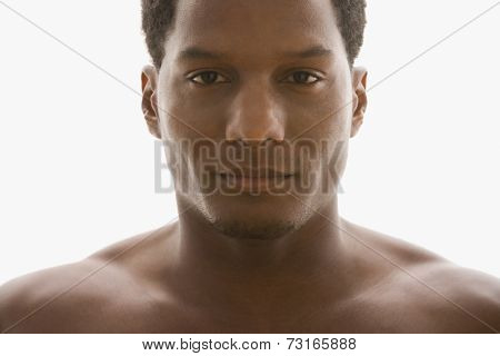 African American man with bare shoulders