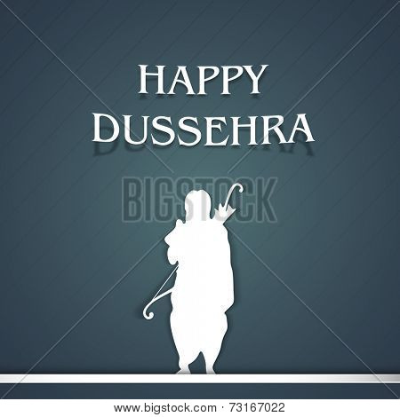 Illustration of Lord Ram with white image and stylish text of Happy Dussehra on navy blue background.
