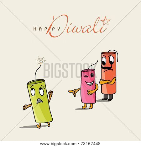 Illustration of funny crackers with beautiful text on white background.