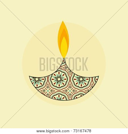 Illustration of a flower decorated illuminated  lampion in the shade of circle.  poster