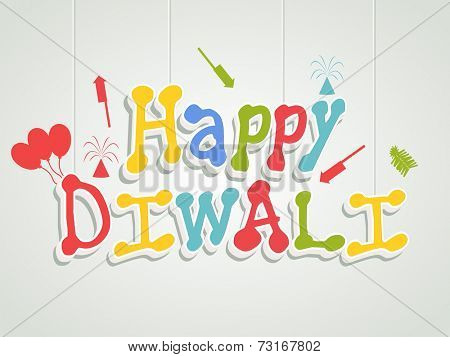 Illustration of colourful hanging text of diwali with white under lines, crackers and balloons on light grey and white background.