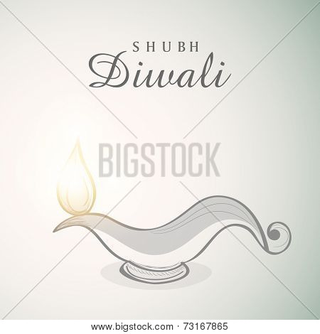 Poster of illuminated oil lit lamp with beautiful text of Shubh Diwali on white and light skyblue background.