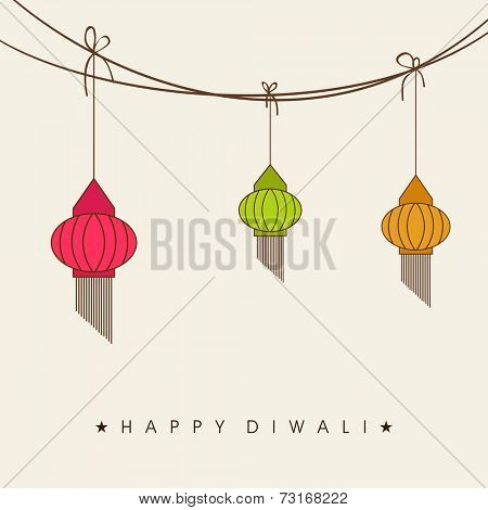 Concept of colourful hanging in a rope on light grey background.