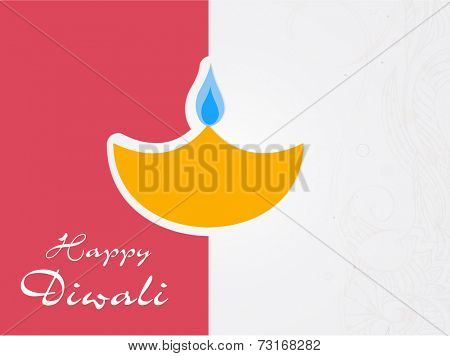 Illustration of a lampion in yellow with stylish text on double colour floral decorated background.