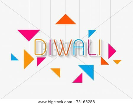 Stylish colourful hanging text of diwali with white underlines and paper design on light grey  background.