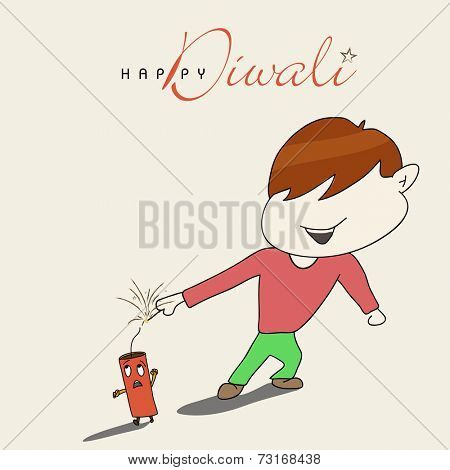 Little cute boy playing with crackers on diwali celebration with beautiful text on white background.