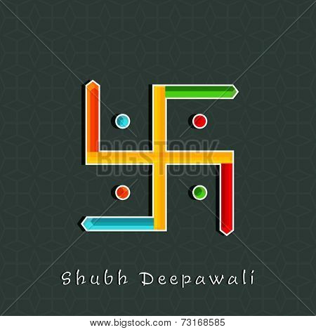 Illustration of colourful Swastika sign with Subh Deepawalitex on seamless background.